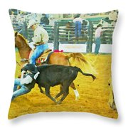 Bulldoggin Cowboys Throw Pillow