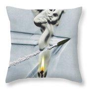 Bullet Shot Through Candle Flame Throw Pillow