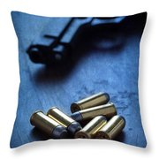 Bullets And Handgun Throw Pillow