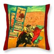 Bullfight Poster Throw Pillow