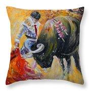 Bullfighting In Neon Light 02 Throw Pillow