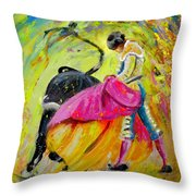 Bullfighting In Neon Light 01 Throw Pillow