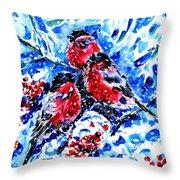Bullfinches Throw Pillow by Zaira Dzhaubaeva