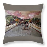 Bullock Cart On Bridge Throw Pillow