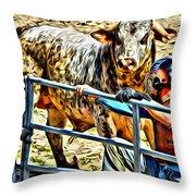 Bullrider And His Bull Throw Pillow