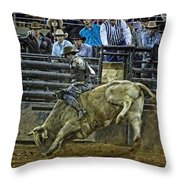Bullriding Mania Throw Pillow