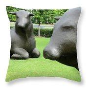 Bulls 2 Throw Pillow by Randall Weidner