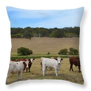 Bulls And Cow Throw Pillow