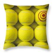 Bullseye Tennis Balls Throw Pillow