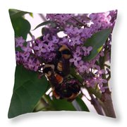 Bumble Bees In Flowers Throw Pillow