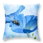 Bumblebee And Blue Morning Glory Throw Pillow
