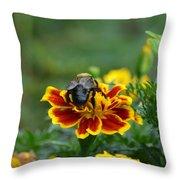 Bumblebee On Marigold Throw Pillow