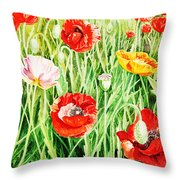Bunch Of Poppies II Throw Pillow