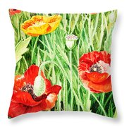 Bunch Of Poppies IIi Throw Pillow