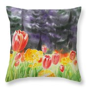 Bunch Of Tulips I Throw Pillow