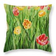 Bunch Of Tulips II Throw Pillow