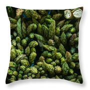 Bunches Of Asparagus On Display At The Farmers Market Throw Pillow