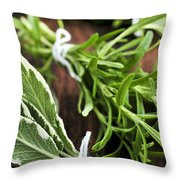 Bunches Of Fresh Herbs Throw Pillow