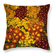 Bunches Of Yellow Copper Orange Red Maroon - Hot Autumn Abundance Throw Pillow