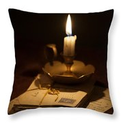 Bundle Of Letters By Candle Light Throw Pillow