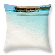 Bungalow Architecture And Beach On A Maldivian Island Throw Pillow