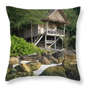Bungalow In Koh Rong Island Beach In Cambodia Throw Pillow