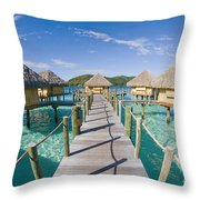 Bungalows Over Ocean Throw Pillow