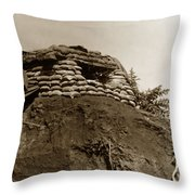 Bunker Above The Dak Poko River Near Dak To Kontum Province Vietnam 1968 Throw Pillow