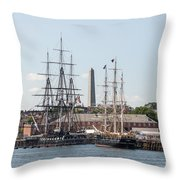 Bunker Hill With Ships Throw Pillow
