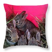 Bunnies In Pink Throw Pillow