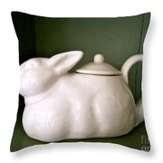 Bunny Teapot  Throw Pillow