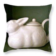 Bunny Teapot  Throw Pillow
