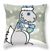 Bunny Winter Throw Pillow by Christy Beckwith