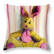 Bunny With Pink Ears Throw Pillow