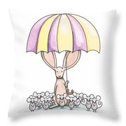 Bunny With Umbrella Throw Pillow by Christy Beckwith