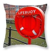 Buoy Foam Lifesaving Ring Throw Pillow by Luis Alvarenga