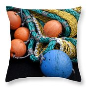 Buoys And Nets Throw Pillow by Carol Leigh