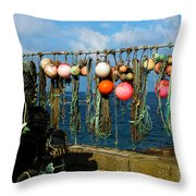 Buoys And Pots In Sennen Cove Throw Pillow by Terri Waters