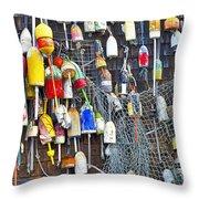 Buoys On Wall - Cape Neddick - Maine Throw Pillow