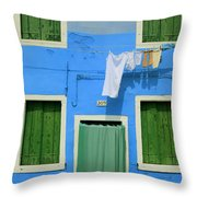 Burano Blue And Green Throw Pillow