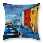 Burano Canal - Venice Throw Pillow