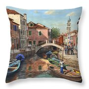 Burano Canal Venice Throw Pillow