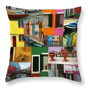 Burano Italy Collage Throw Pillow