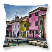 Burano Italy - Colorful Homes Throw Pillow