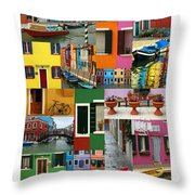 Burano Italy Poster Throw Pillow