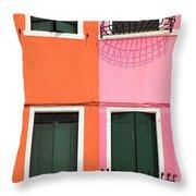 Burano Pink And Orange Throw Pillow