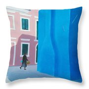 Burano Venice Street Scene Throw Pillow