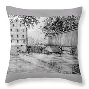 Burfordsville Bridge And Bollinger Mill Throw Pillow