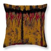 Burgandy Hearts On Gold Throw Pillow