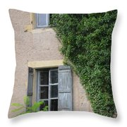 Wood Shutters With Vine Throw Pillow
